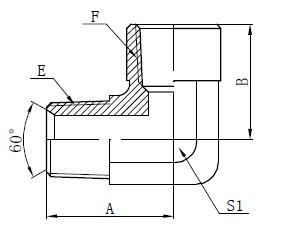90 grade Amerikaanse Adaptor Tekening