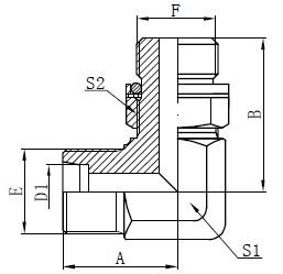 Elmboog Hidrouliese Adapters Tekening