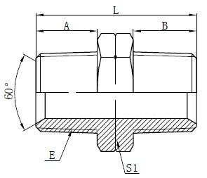 Hidrouliese NPT Man Adapters Tekening